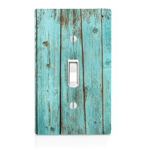 Blue bleach wood printed single light switch.